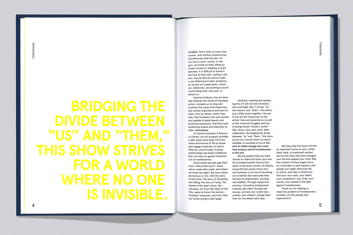Storyscapes exhibition catalog intro spread designed by Drew Sisk