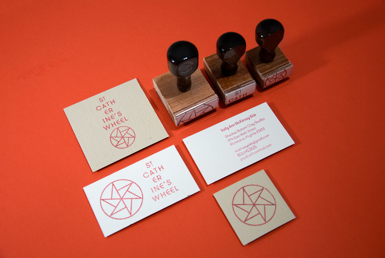St. Catherine's Wheel business cards and stamp system, designed by Drew Sisk