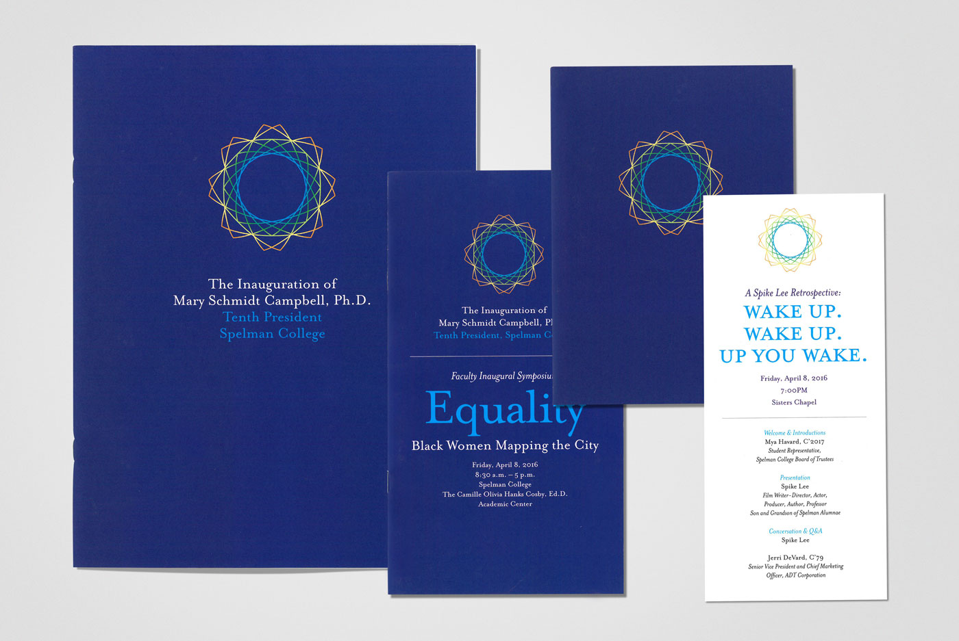 Spelman Presidential Inauguration materials, designed by Drew Sisk