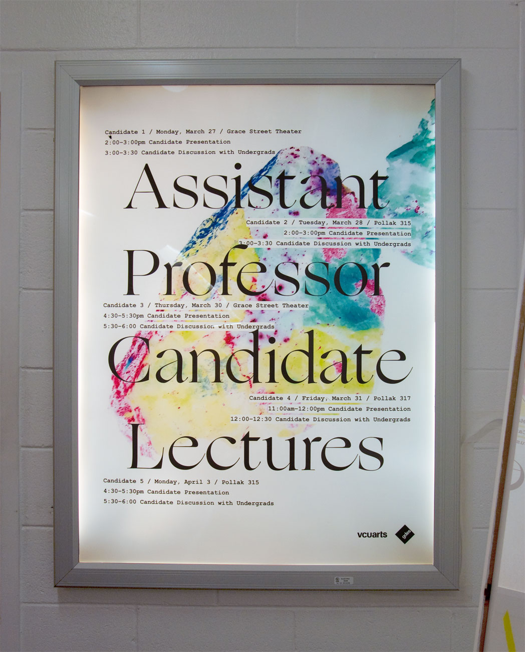 VCU Assistant Professor Candidate lectures poster, designed by Drew Sisk, VCU MFA