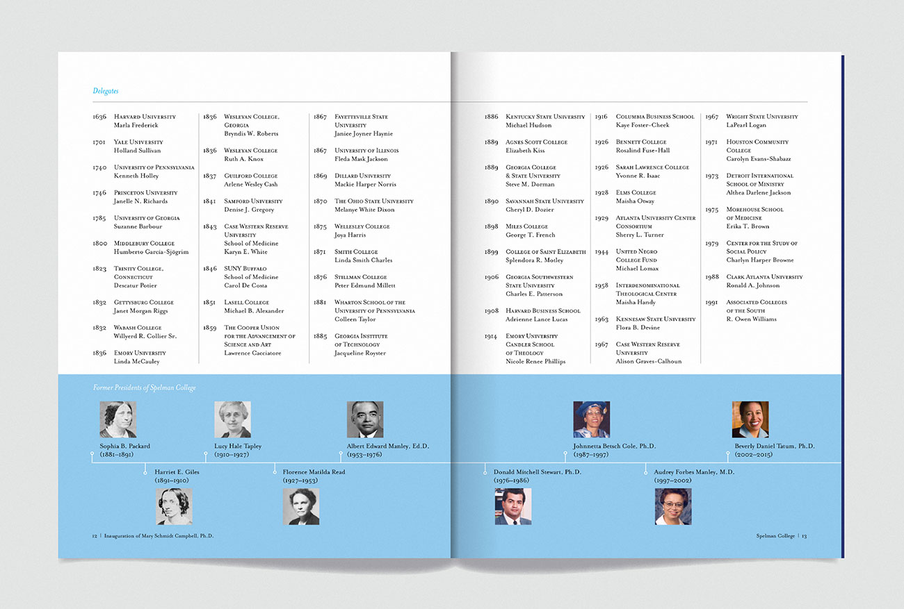 Spelman College Presidential Inauguration program, designed by Drew Sisk