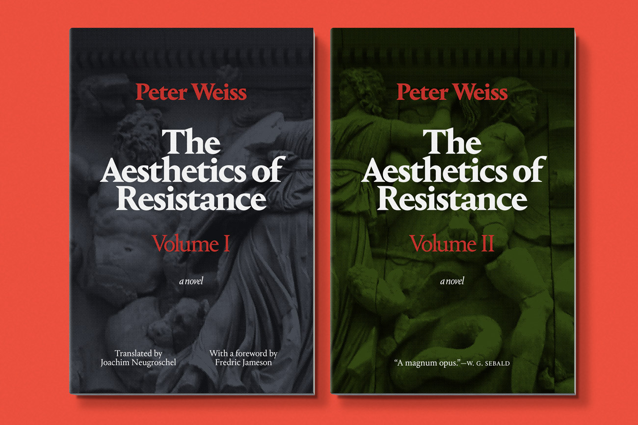 Cover design for The Aesthetics of Resistance, Volume II by Peter Weiss, designed by Drew Sisk, published by Duke University Press