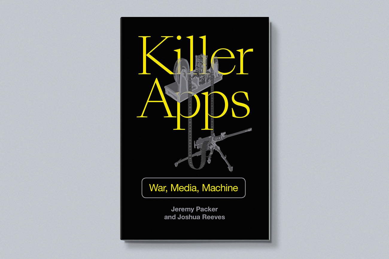 Cover design for Killer Apps by Jeremy Packer and Joshua Reeves, designed by Drew Sisk, published by Duke University Press